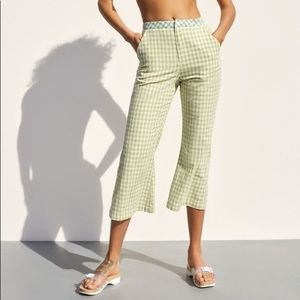 UO Leanna Gingham Cropped Flare Pant